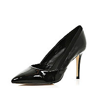Black patent mid heel court shoes