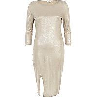 Silver metallic split hem column dress