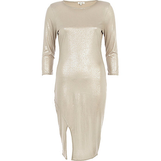 Silver metallic split hem column dress
