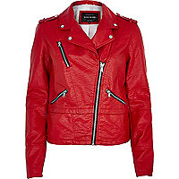 Bright red biker jacket