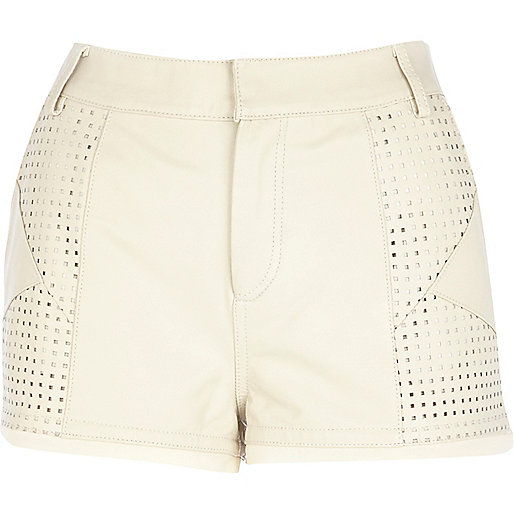 Cream perforated panel leather shorts