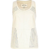 White perforated panel leather vest