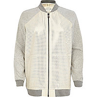 White perforated leather bomber jacket
