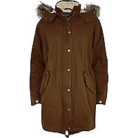 Brown faux fur lined parka jacket
