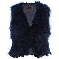 Navy blue feather gilet