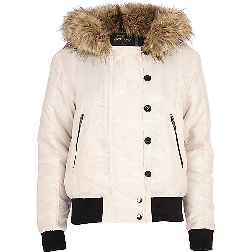 Light pink animal print hooded bomber jacket