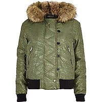 Khaki animal print hooded bomber jacket