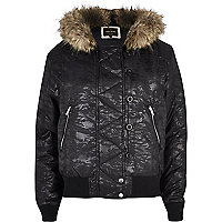 Black animal print hooded bomber jacket