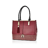 Dark red contrast zip base tote bag