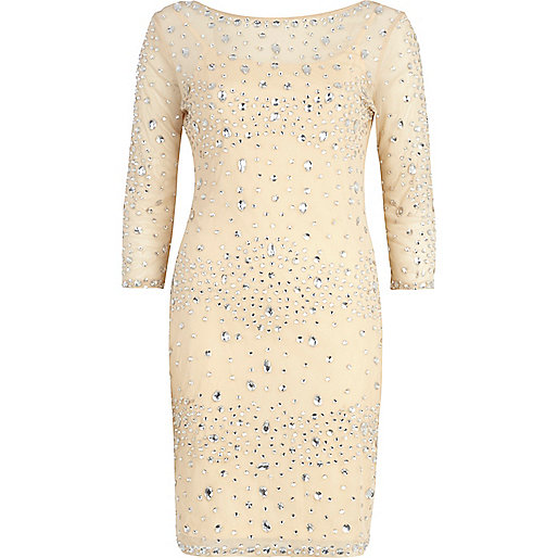 Beige jewel embellished bodycon dress