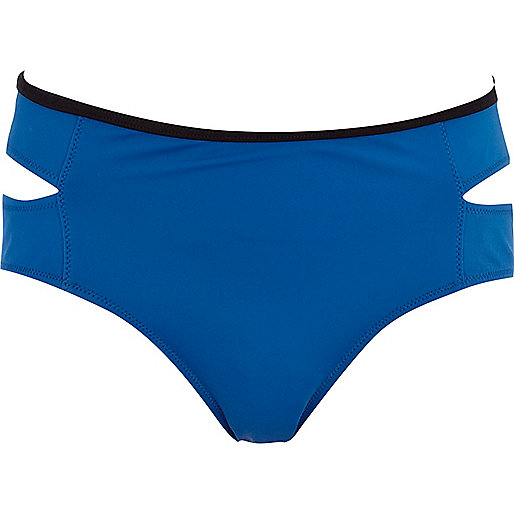 Blue contrast trim cut out bikini bottoms