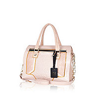 Pink premium quilted panel mini tote bag