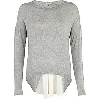 Grey woven back long sleeve top