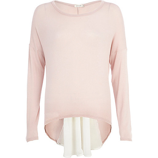 Pink woven back long sleeve top