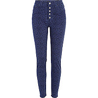 Navy animal print Etta superskinny jeans