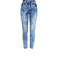 Mid wash snake Etta superskinny jeans
