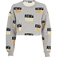 Grey New York cropped sweatshirt