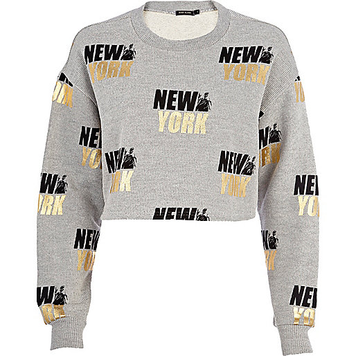Grey New York cropped sweatshirt