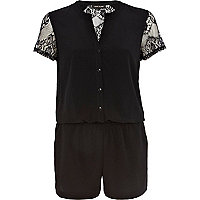 Black lace insert smart playsuit