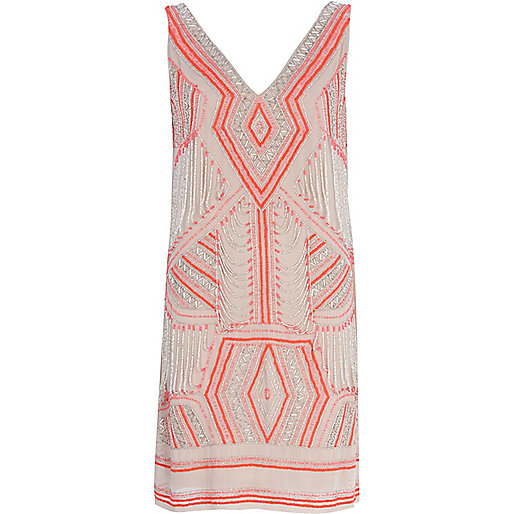 Beige geometric beaded shift dress