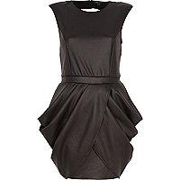 Black leather-look draped tulip dress