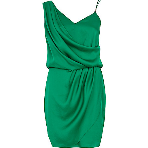 Green asymmetric slip dress
