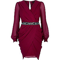 Dark red sequin waist draped dress