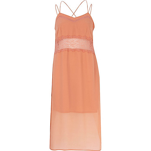 Light orange lace insert slip dress