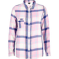 Pink check traditional pyjama top