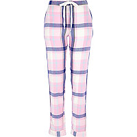 Pink check traditional pyjama bottoms