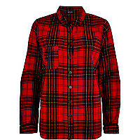Red brushed check pyjama shirt