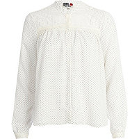 Cream Chelsea Girl polka dot blouse