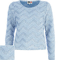 Blue Chelsea Girl zig zag fluffy jumper