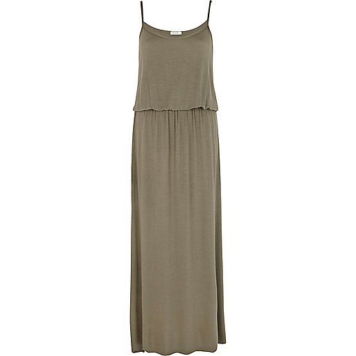 Khaki waisted cami maxi dress