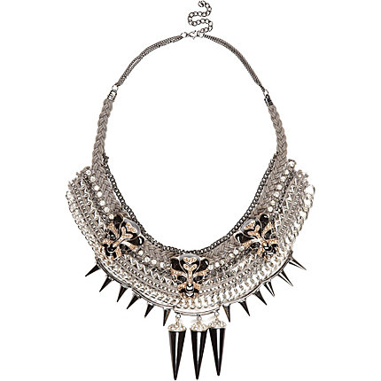 Grey leopard head spike statement necklace