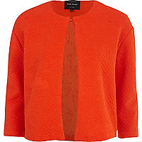 Orange quilted jersey cropped jacket