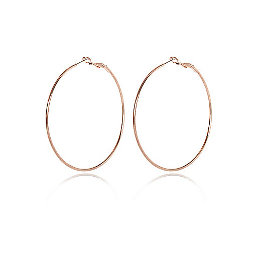 Rose gold tone hoop earrings