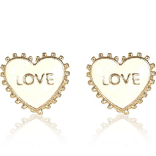Cream love enamel stud earrings