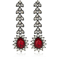 Red gem stone drop earrings