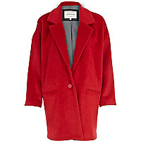 Red oversized cocoon coat