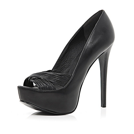 Black multi strap peep toe platforms