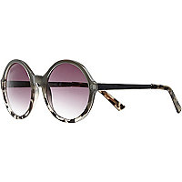 Grey ombre tortoise shell round sunglasses