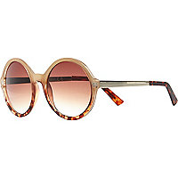 Cream tortoise shell ombre round sunglasses