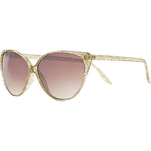 Gold glitter cat eye sunglasses