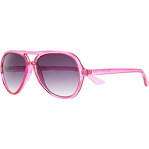 Bright pink aviator sunglasses