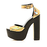 Gold holographic peep toe platform sandals