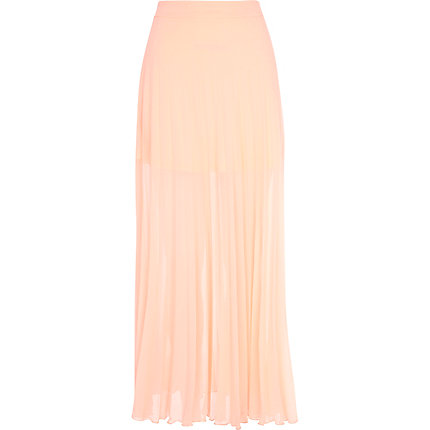 Light coral pleated maxi skirt