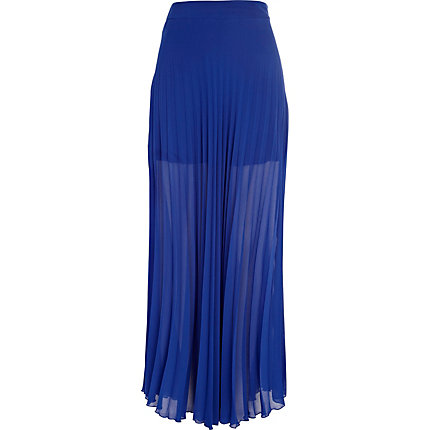 Bright blue pleated maxi skirt