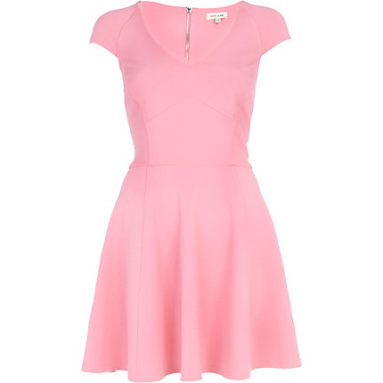 Pink structured cap sleeve skater dress