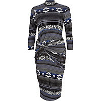 Blue tribal print twist front bodycon dress